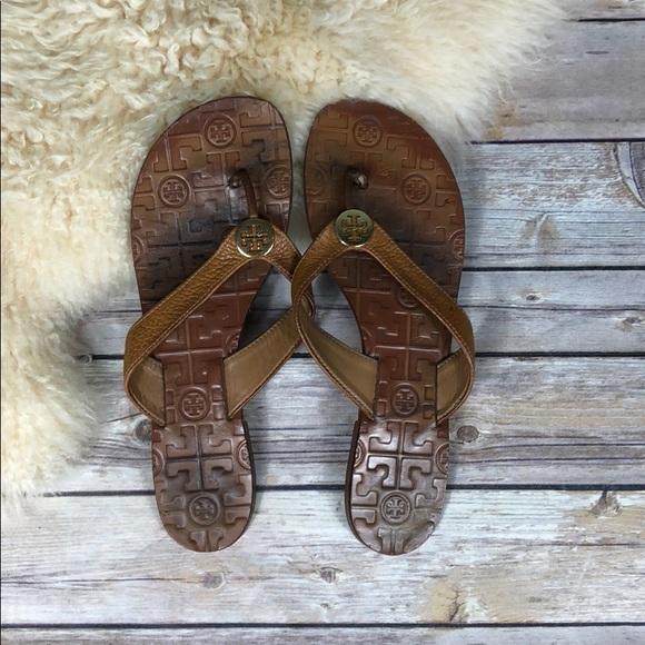 89783530e0c Tory Burch Thora Tumbled Leather Thong Sandals. M 5a5511b836b9ded49505b23d